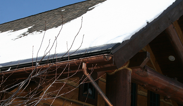 An example of our SnoFree™ Heated Eave systems installed on a shingle roof.