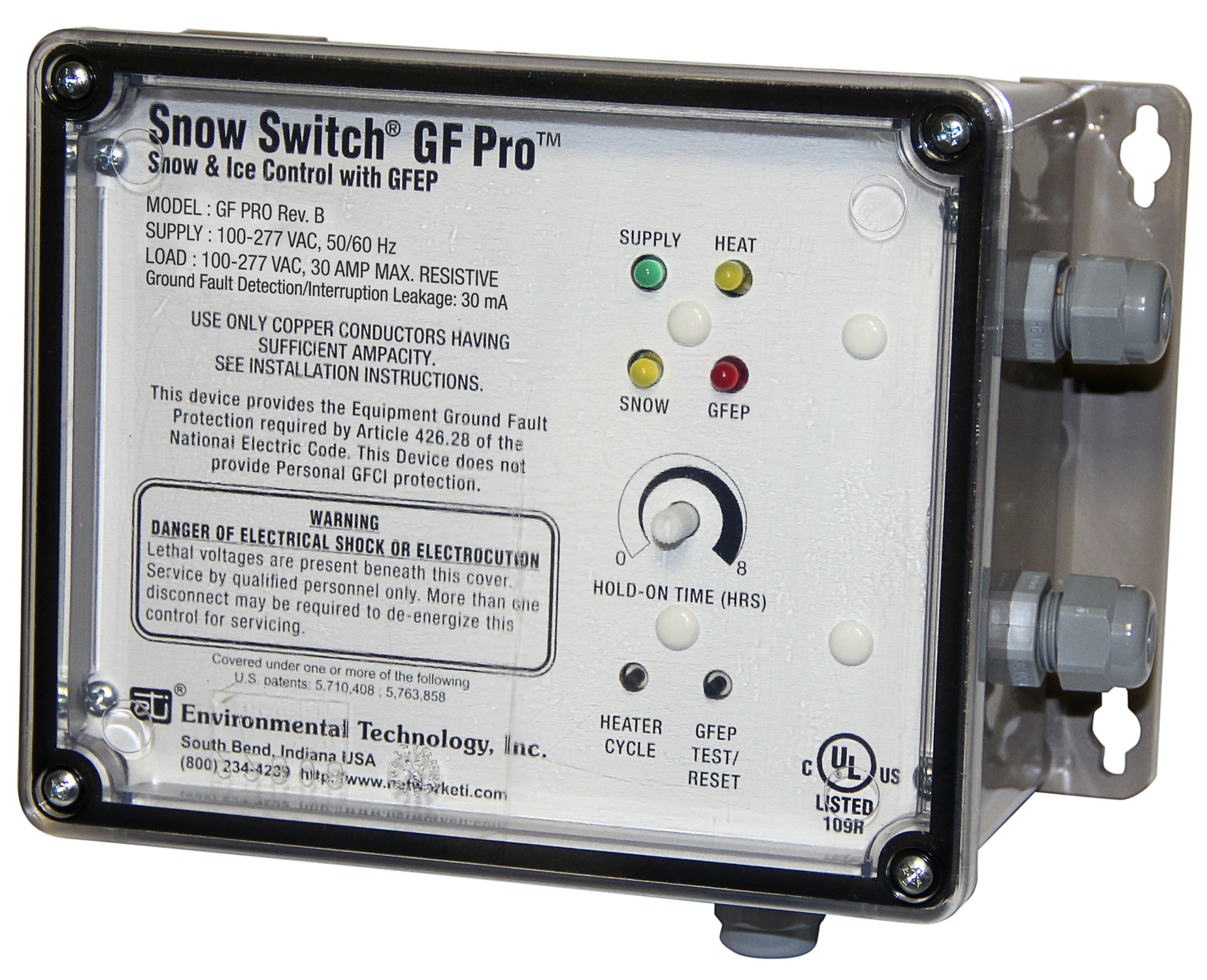 The Snow Switch® Model GF Pro uses separate snow and ice sensors to regulate roof heater systems.