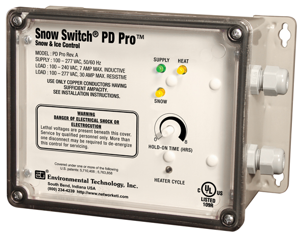 The Snow Switch® Model PD Pro uses pilot duty and separate sensors to regulate your heat trace system.