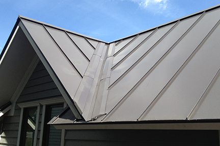 "An example of a roof valley with SFP=V SnoFree™ 4"" or 6"" Valley Panels installed."